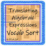 Translating Algebraic Expressions Vocab Sort with Differentiation
