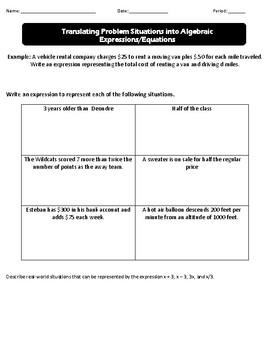Translating Algebraic Expressions and Equations