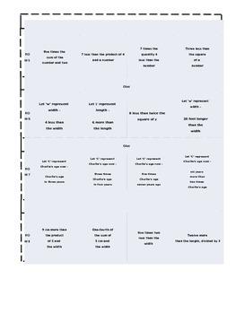 Translating Algebraic Expressions foldable