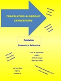 Translating Algebraic Expressions foldable