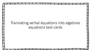 Translating Equations Scavenger Hunt