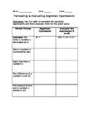 Translating & Evaluating Algebraic Expressions