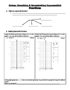 Translating Exponential Functions: Notes, Homework, Classwork, and Warm Up