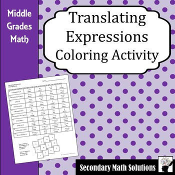 Translating Expressions Coloring Activity