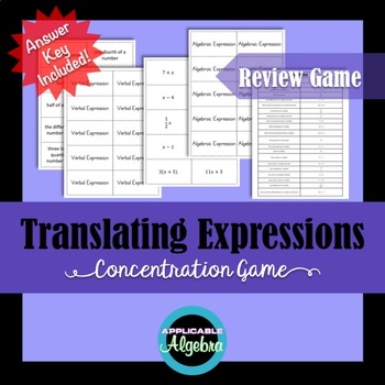 Translating Expressions - Concentration Game - Verbal and Algebraic - Review
