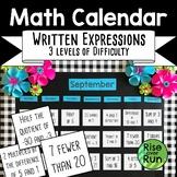 Translating Expressions Math Calendar