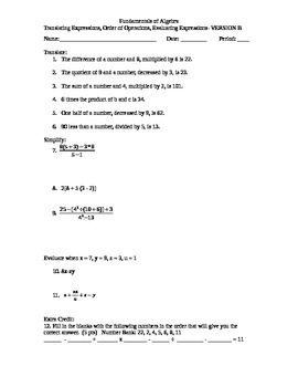 Translating Expressions, Order of Operations, Evaluating Expressions Worksheet-B