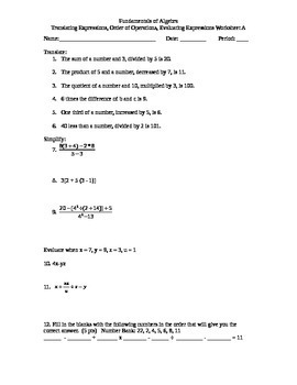 Translating Expressions, Order of Operations, Evaluating Expressions Worksheet A
