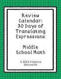 Translating Expressions Review Calendar