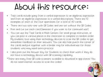 Translating Expressions Task Cards with QR Codes