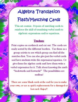 Translating Expressions and Equations Matching Cards