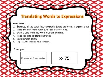 Translating Expressions to Words Matching