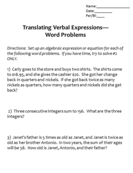 Translating Expressions with Word Problems