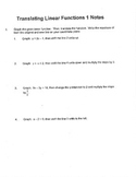 Algebra: Translating Linear Functions 1