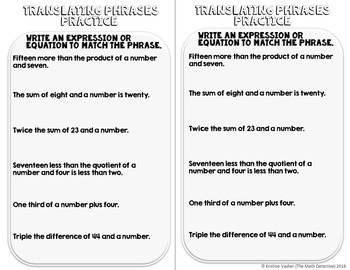 Translating Phrases into Expressions & Equations - Doodle Note Brochure for INBs