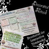 Translating into Expressions & Equations - Decorated Notes Brochure for INBs