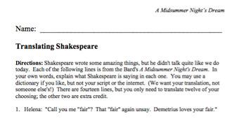 Translating Shakespeare--A Midsummer Night's Dream