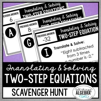 Translating and Solving Two-Step Equations Scavenger Hunt