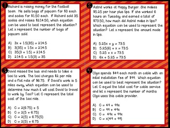 Translating Verbal Equations Notes and Task Cards