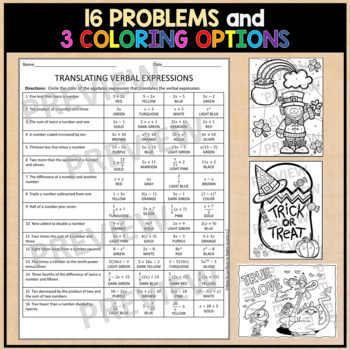 Translating Expressions Coloring Activity HALLOWEEN Theme