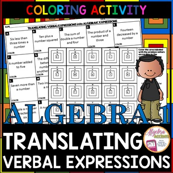 Translating Algebraic Expressions Granny Squares Coloring Activity