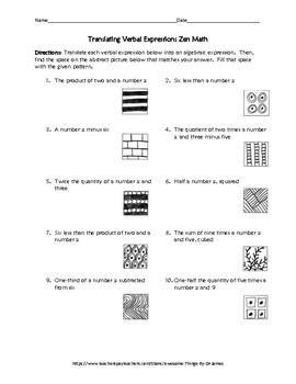 Translating Verbal Expressions Zen Math