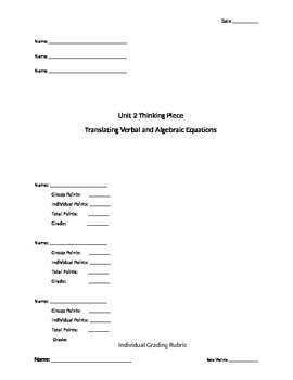 Translating Verbal Expressions to Algebraic Expressions Part 2 - Group Activity