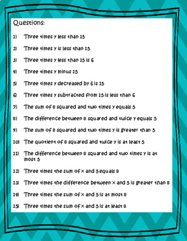 Translating Verbal to Algebraic Expressions, Equations, and Inequalities