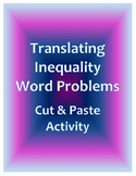 Translating Inequalities Word Problems Cut and Paste Activity