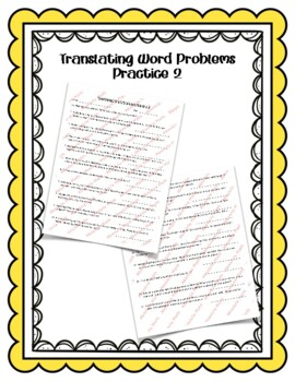 Translating Word Problems Practice 2