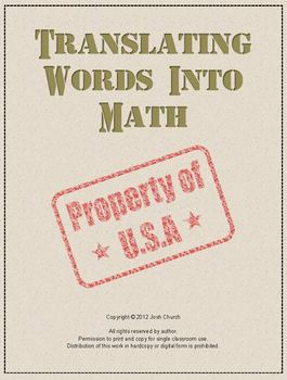 Translating Words Into Math Lesson - Algebraic Expressions