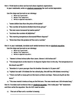 Algebra 10 - Translating Words into Algebraic Equations