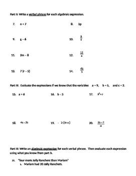 Translating Words Into Algebraic Expressions Worksheets ...