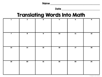 Translating Words into Math/ Writing Expressions and Equations Task Cards
