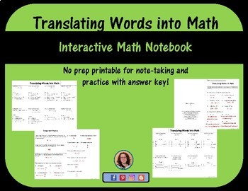 Translating Words into math foldable for Interactive math