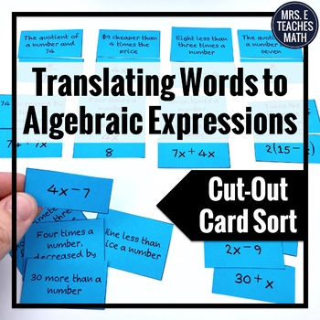 Algebraic Expressions Cut-Out Activity