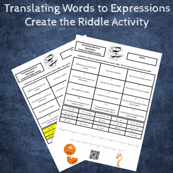 Translating Words to Expressions Create the Riddle Activity