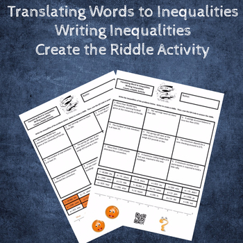 Translating Words to Inequalities (Writing Inequalities) Create a Riddle