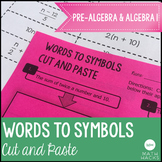 Translating Words to Symbols Activity: Cut and Paste