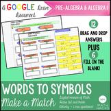 Translating Words to Symbols Activity: Make a Match
