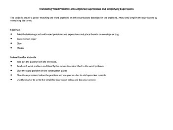 Translating word problems into algebraic expressions and s