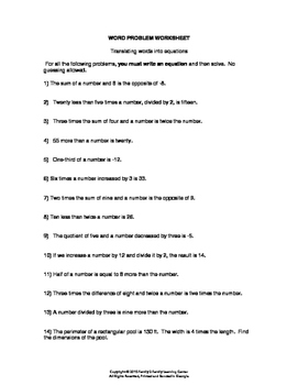 Translating Words into Equations Word Problem