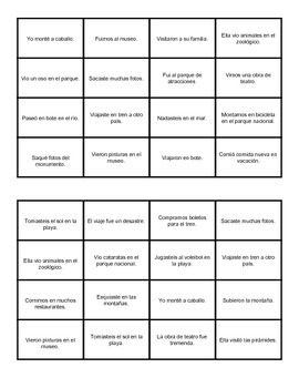 Translation Bingo: Vacation Vocabulary (Realidades 1 Ch 8A)