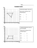 Translation Practice Worksheet with Coordinates