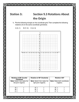 Translation, Reflection, & Rotation Station Activity