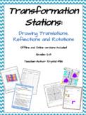 Translations, Reflections & Rotations Math Stations (print and digital versions)