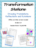 Translations, Reflections & Rotations Math Stations (print