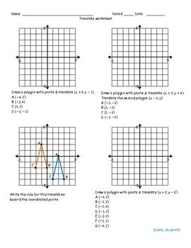 Translation worksheet by Math Monkey | Teachers Pay Teachers