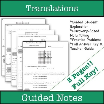 Translations Guided Notes & Practice - Transformations