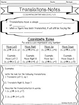 Translations Notes and Worksheet